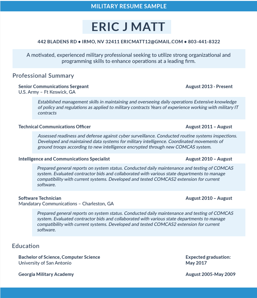 military resume example 2019