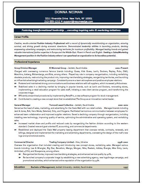 sales profile resume samples