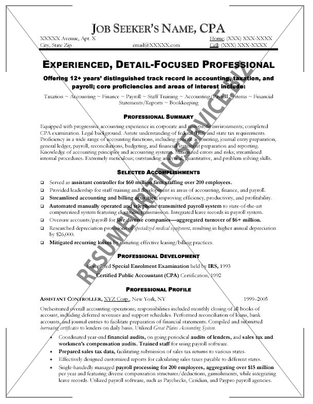 curriculum vitae examples. Accounting (CPA) resume sample