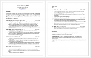Professional CPA Resume Sample