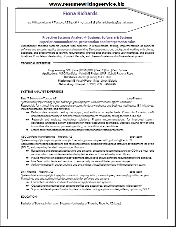 Examples Of Business Analyst Resumes  Business System Analyst Resume