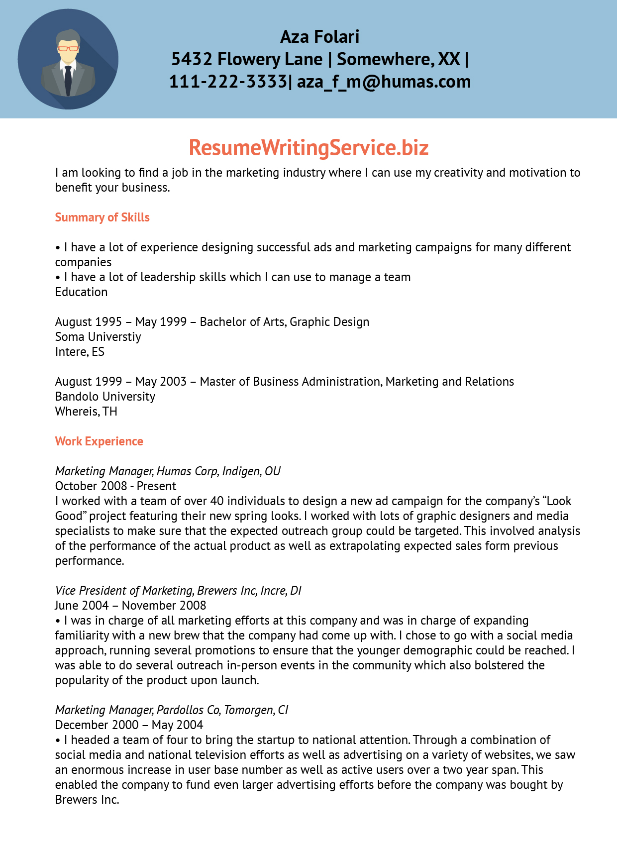 Marketing resume writing service