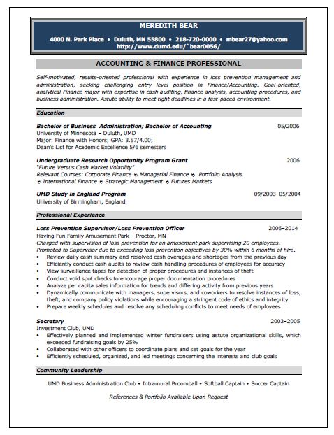 Accounting Resume Template Accounting Job Resume Sample Inspiration