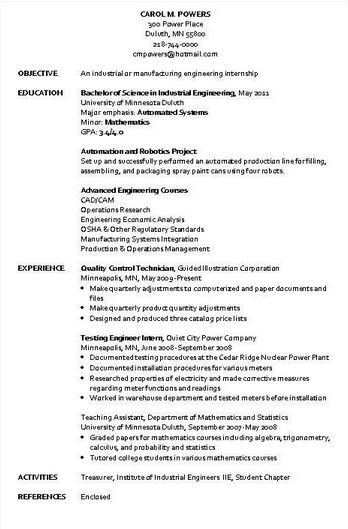 industrial engineer resume sample - Industrial Engineering Resume Samples