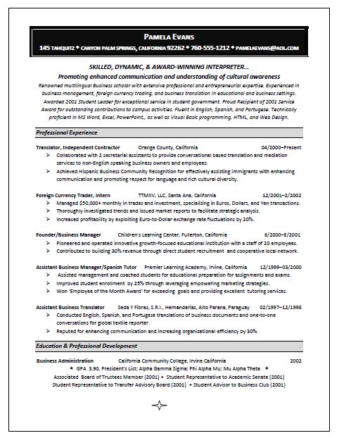 winning interpreter resume sample