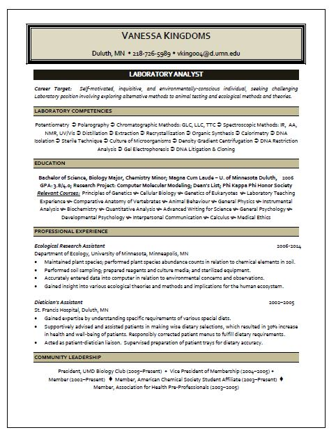 laboratory analyst resume sle resume writing service