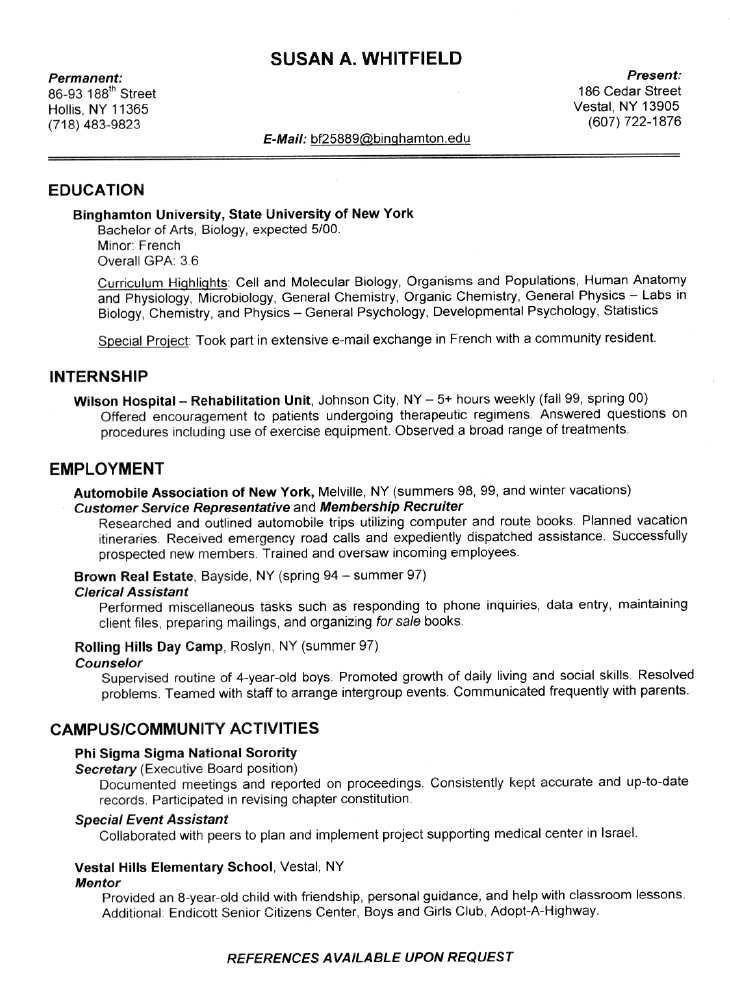 writers resume example