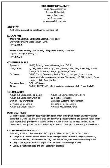 programmer resume sample - Computer Programming Resume