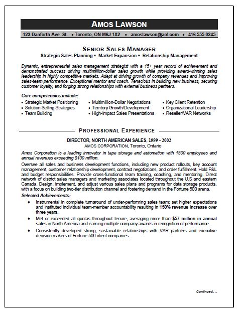 Sales marketing manager resume
