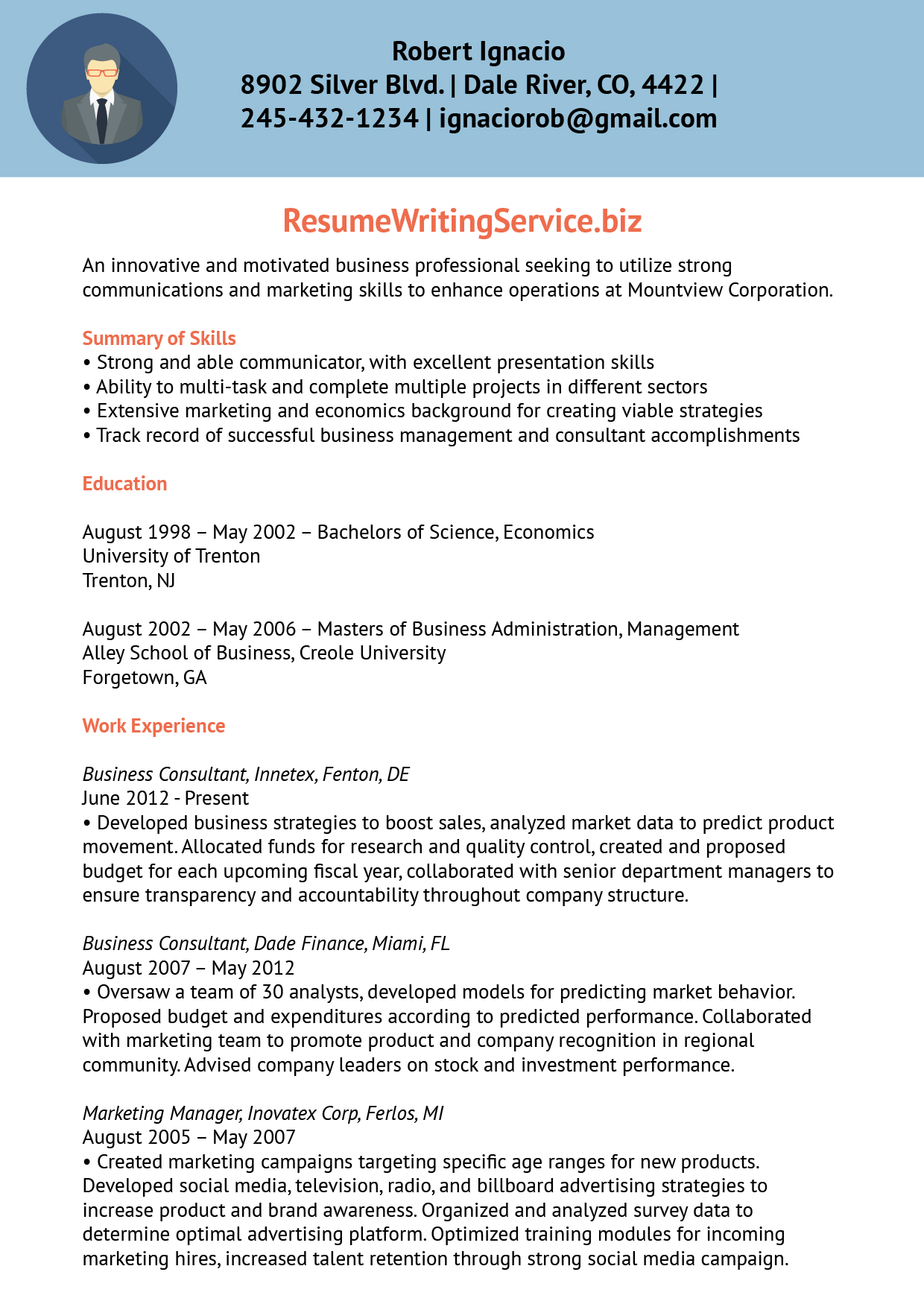 Resume Writing Service  Sample Consultant Resume