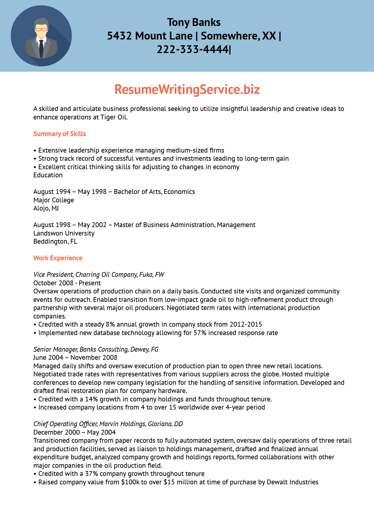 Cv writing service us executive