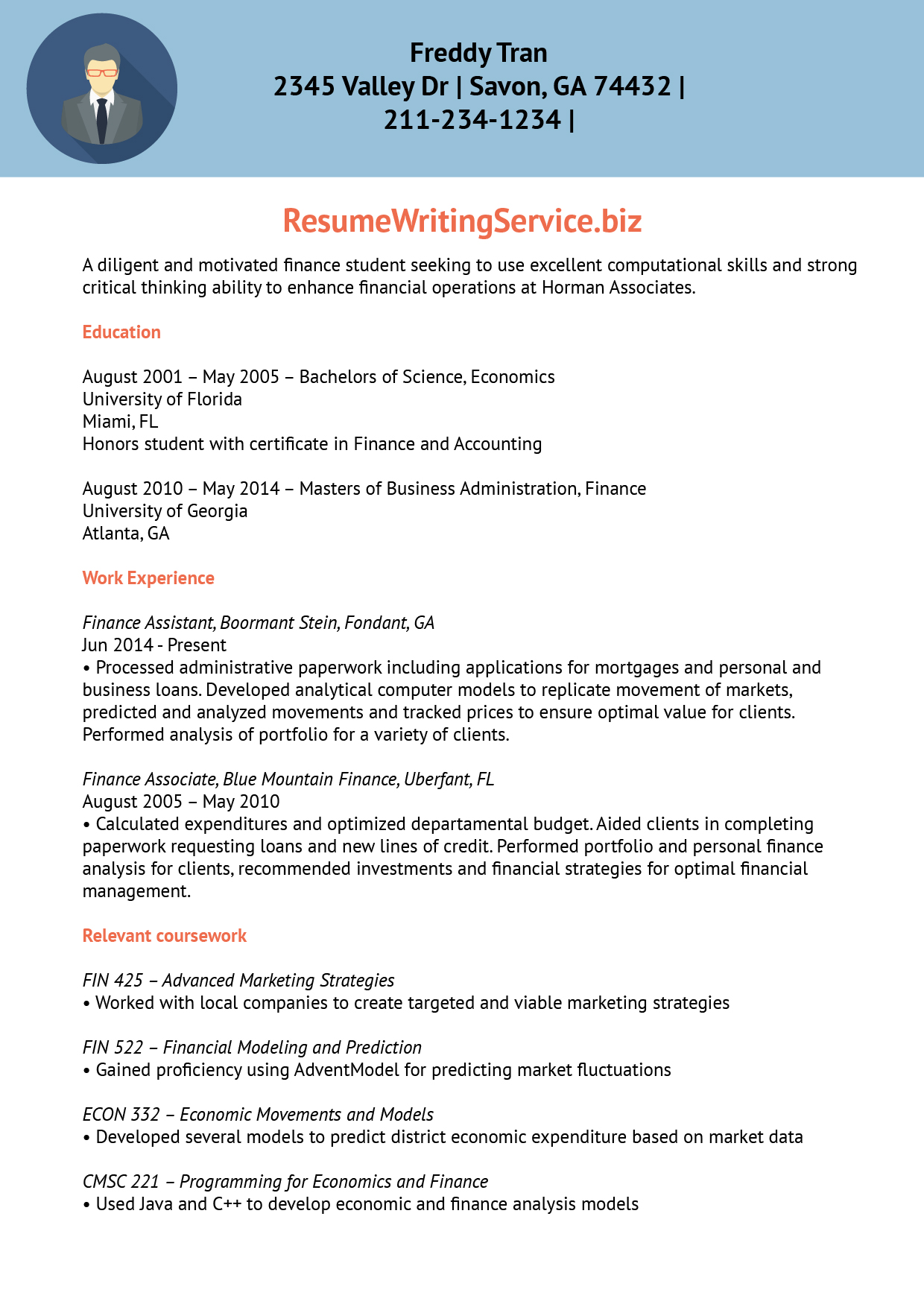 Finance Trainee Resume Sample