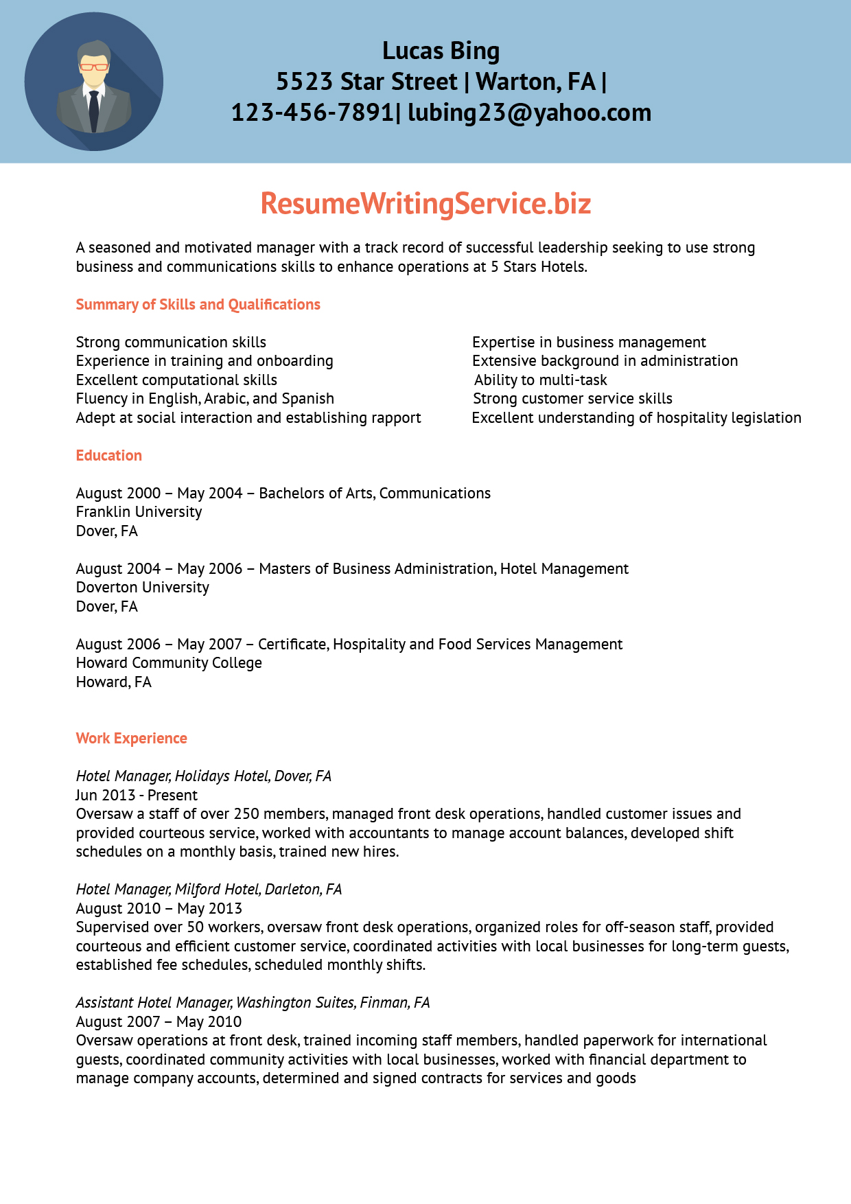 Hotel Manager Resume Sample