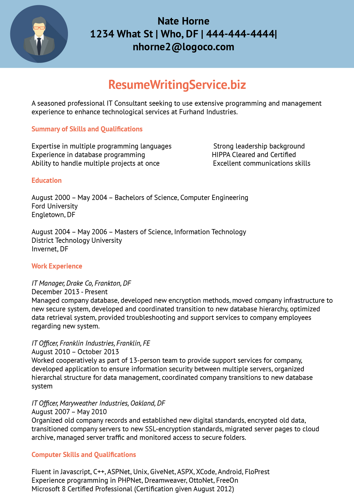 Information Technology Consultant Resume Sample | Resume Writing ...