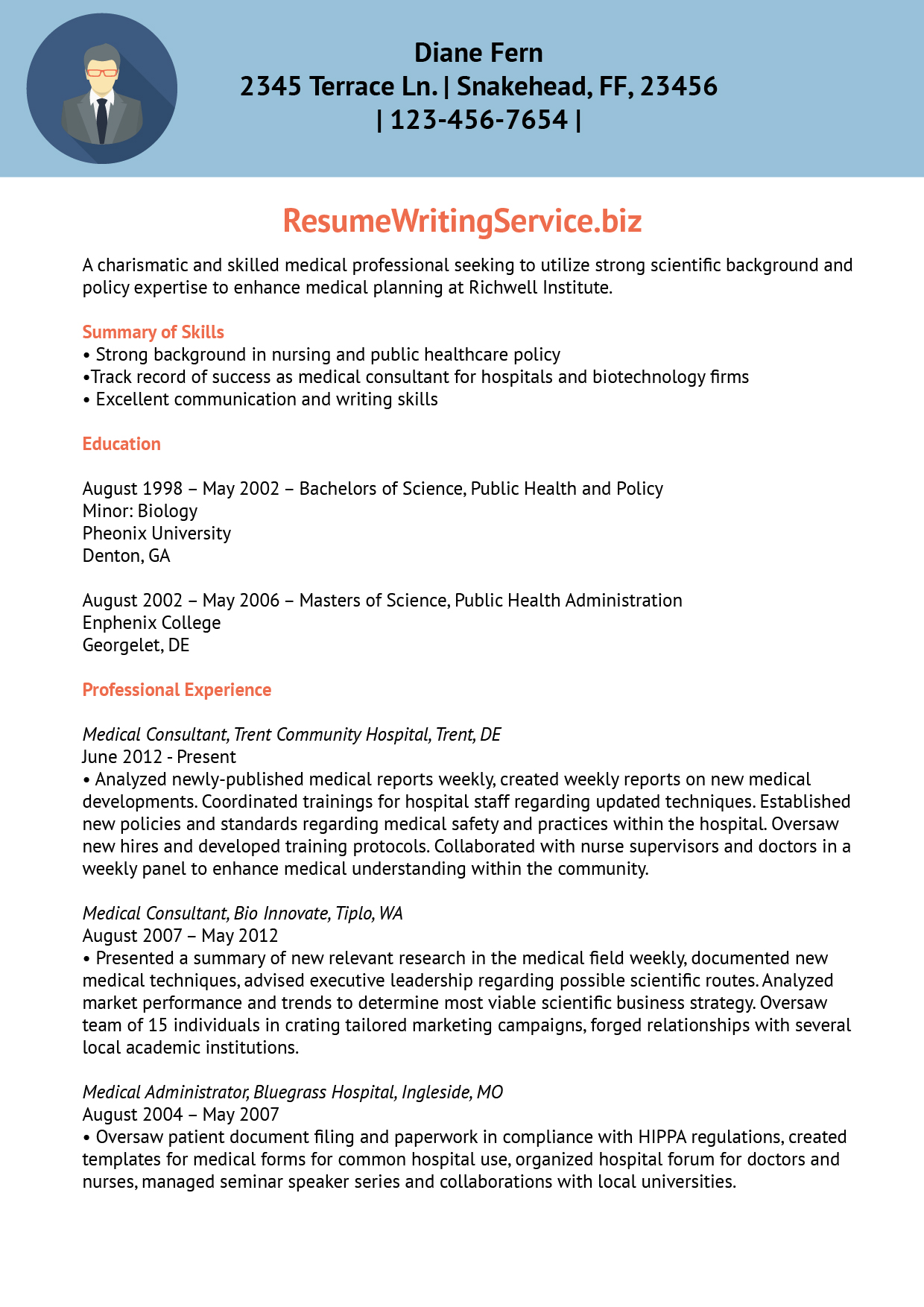 Medical Service Planning Head Resume Sample