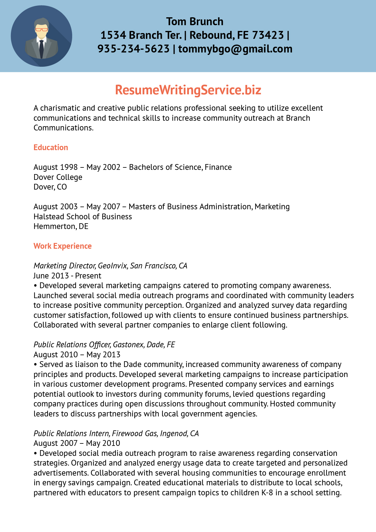 Public relations resume samples