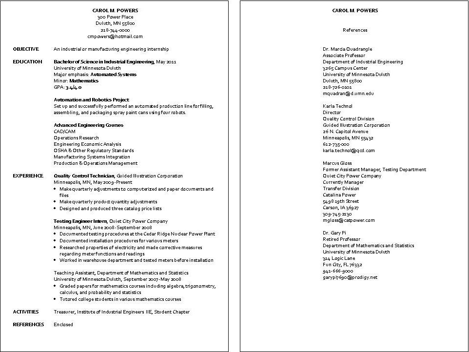 resume sample industrial engineer jpg