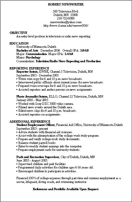 television reporter resume sample journalism resume samples - News Reporter Resume Sample