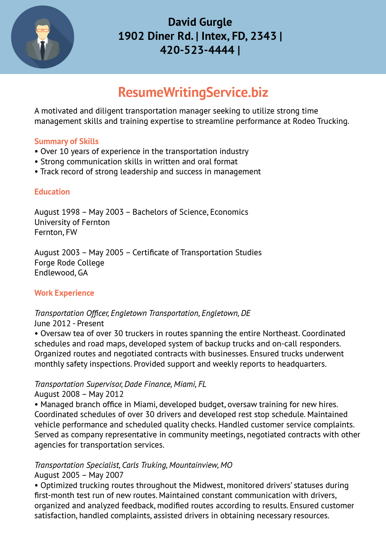 Resume Writing Service  Transportation Resume
