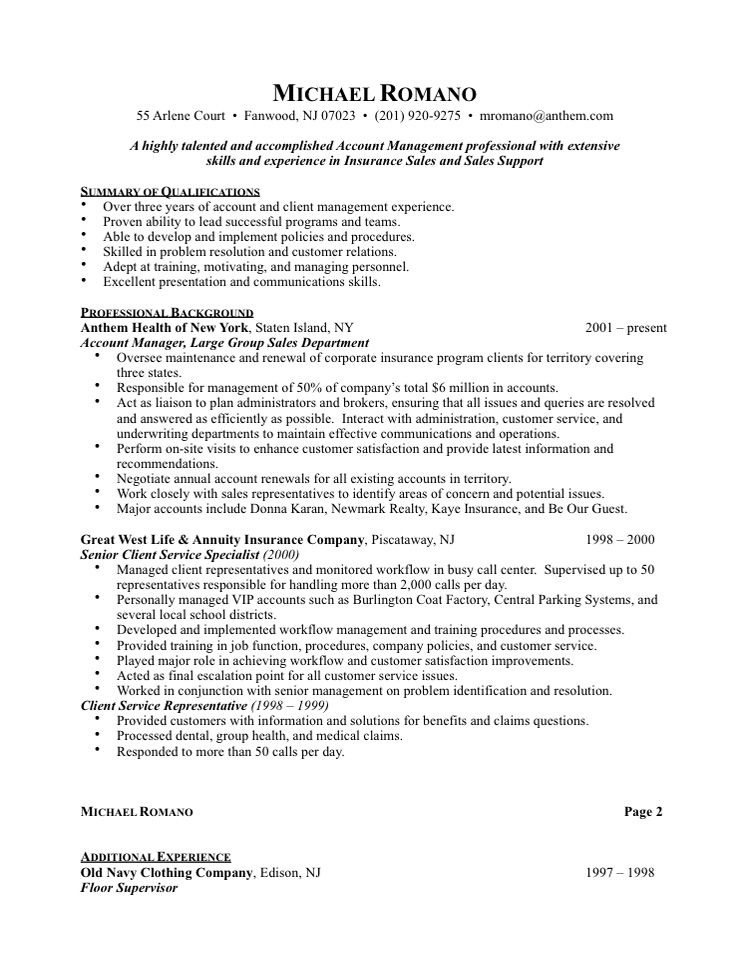 Resume help sales job