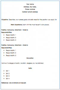 Chronological Format of Resume Writing Service