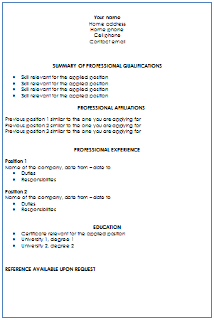 targeted format resume layout click to enlarge