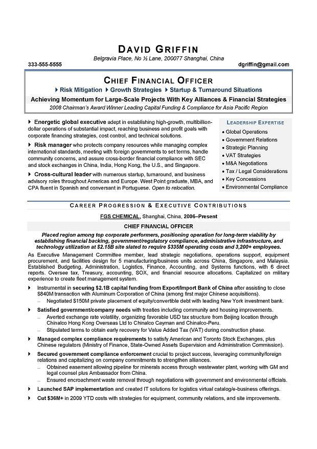 CFO resume sample