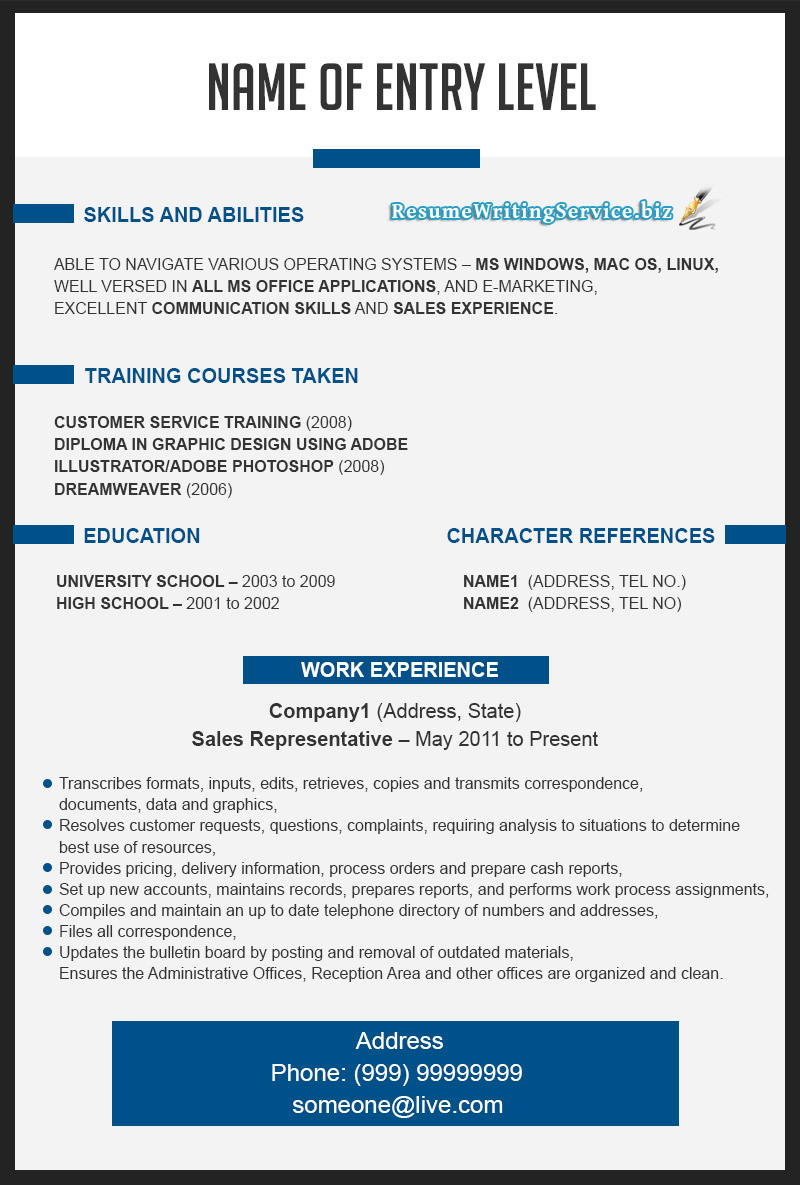 Photos Of Template Resume Outlines Large Size Domainlives