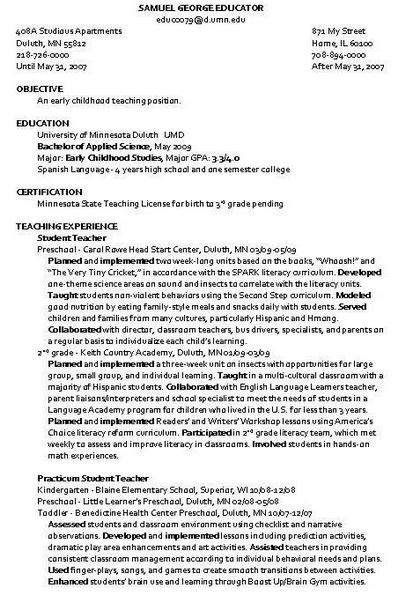 child care instructor resume sample - Child Care Resume Sample