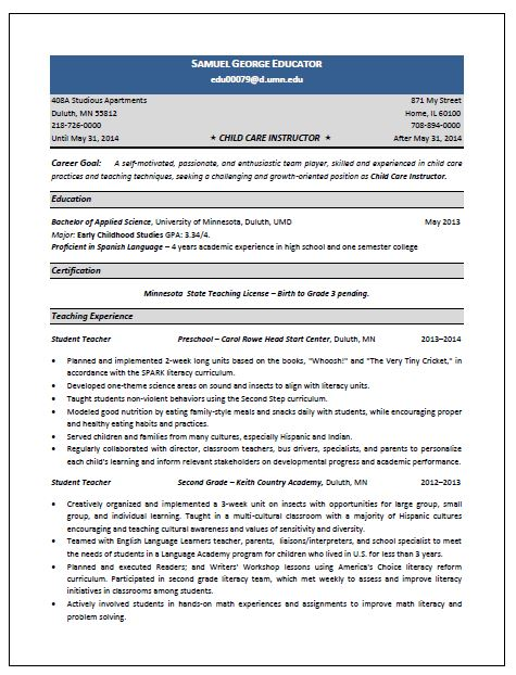 Child Care Sample Resume Child Care Director Resume Template Free