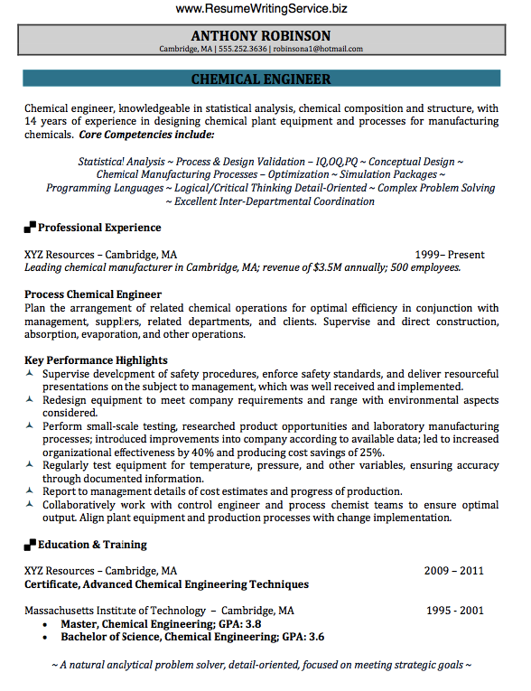 Get Chemical Engineer Resume Sample Here