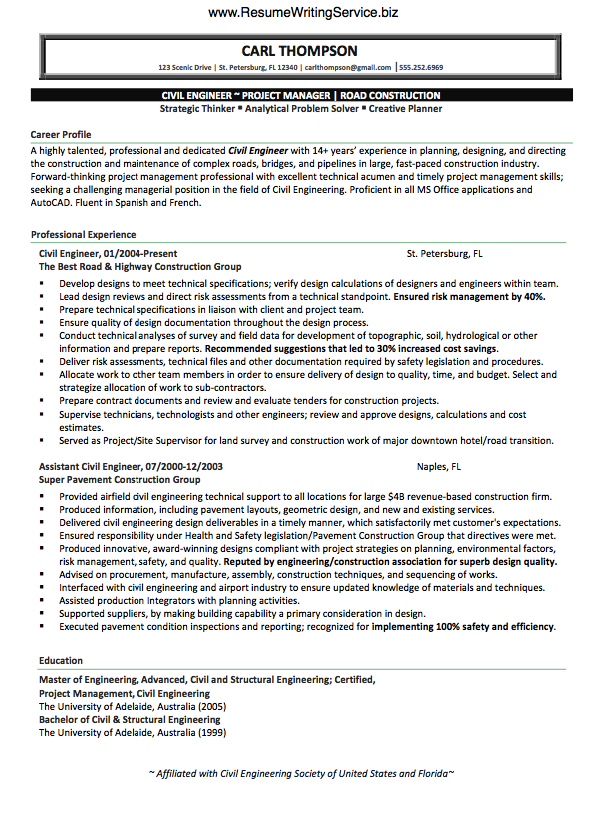 use civil engineer resume sample here