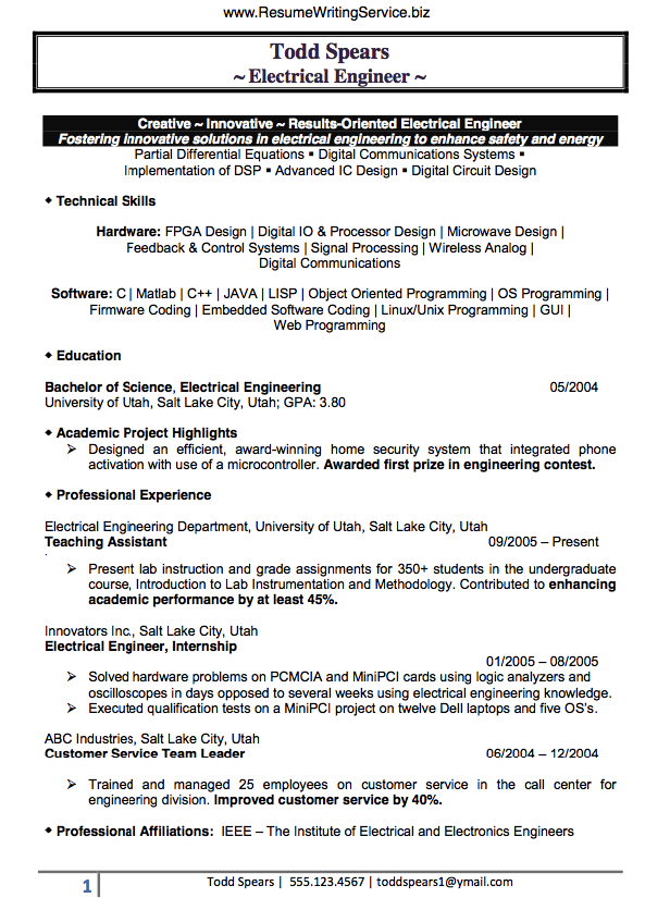 Engineer resume writing service