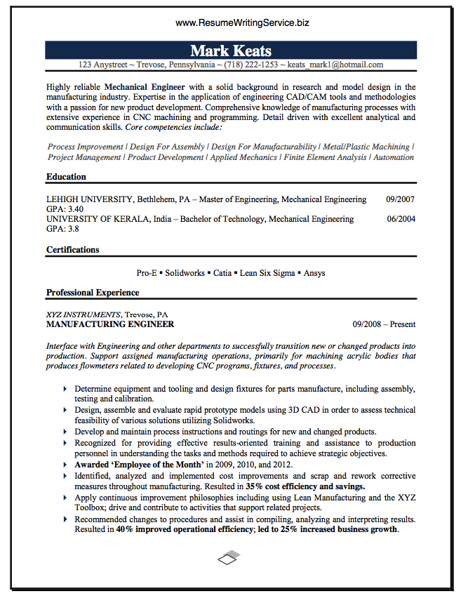 Engineering resume writing service