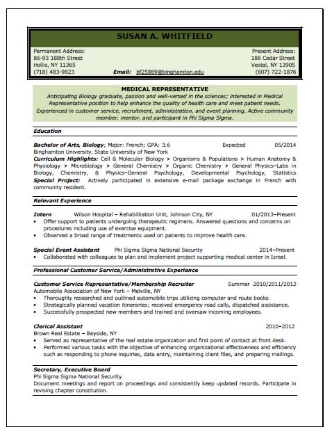 Medical Representative Resume Sample  Medical Resume
