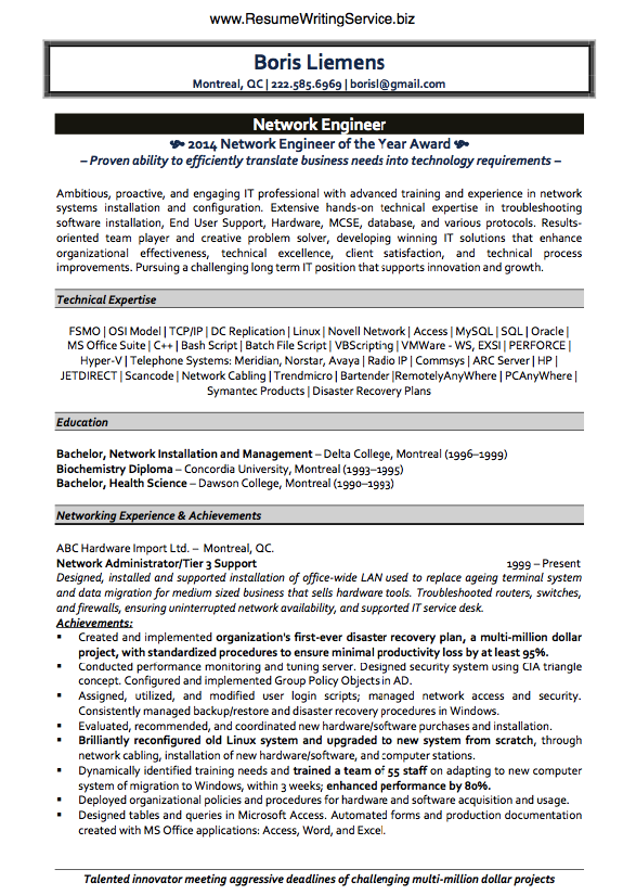 get network engineer resume sample here