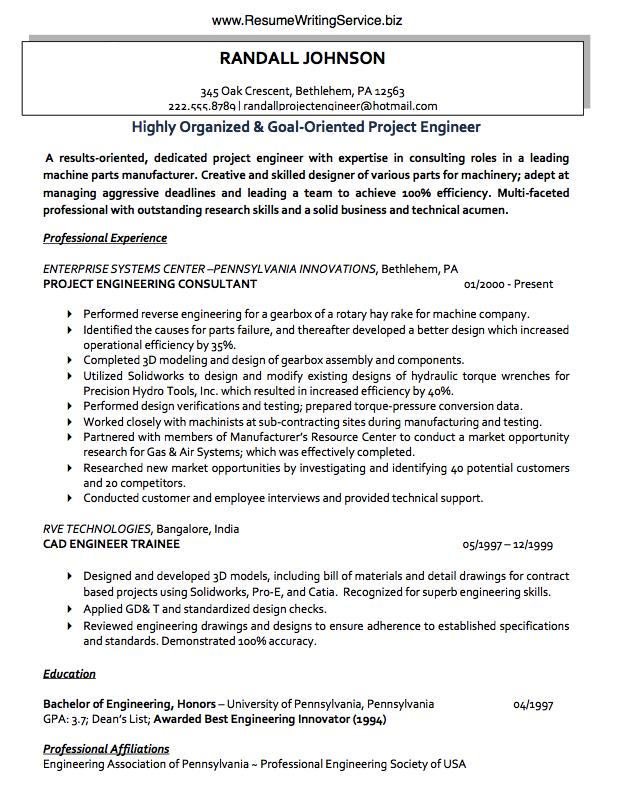 Use A Project Engineer Resume Sample Here