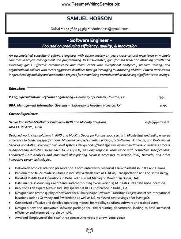 take a software engineer resume sample here