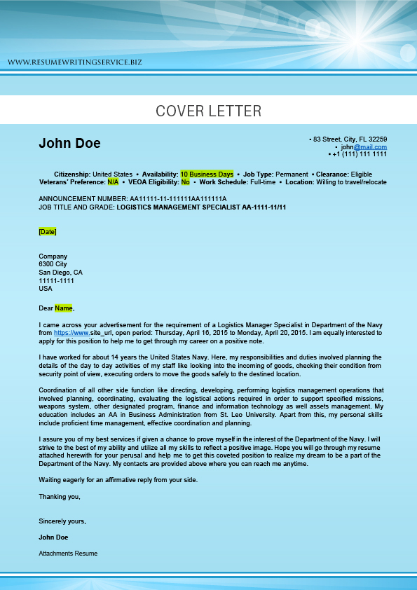 logistics cover letter sample