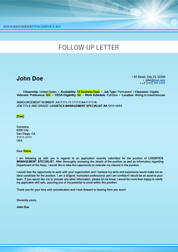 llogistics follow up letter sample