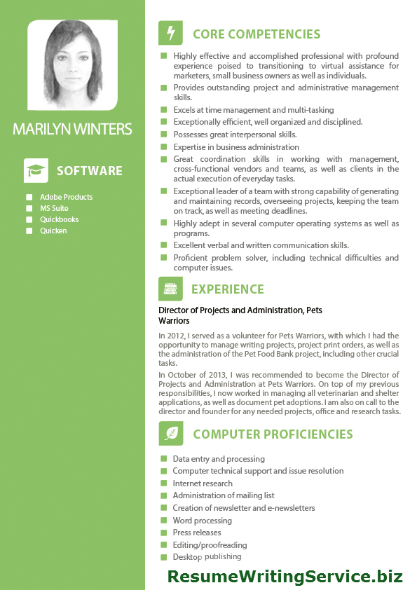 Attractive Resume Writing Service And Virtual Assistant Resume