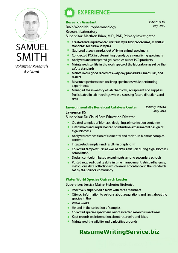 excellent sample of volunteer research assistant resume - Sample Wildlife Biologist Resume