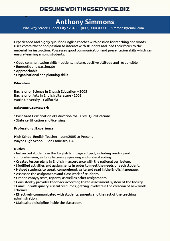 English Teacher Resume Sample | Resume Writing Service