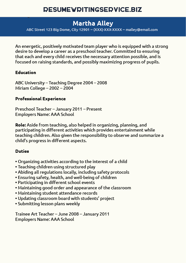 Kindergarten Teacher Resume Samples] Resume Samples Kindergarten