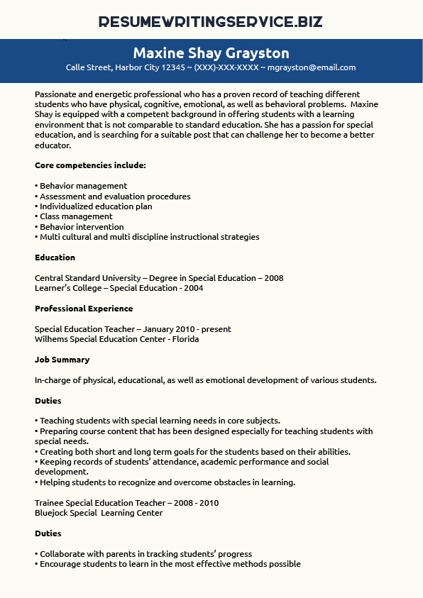 special education resume sle