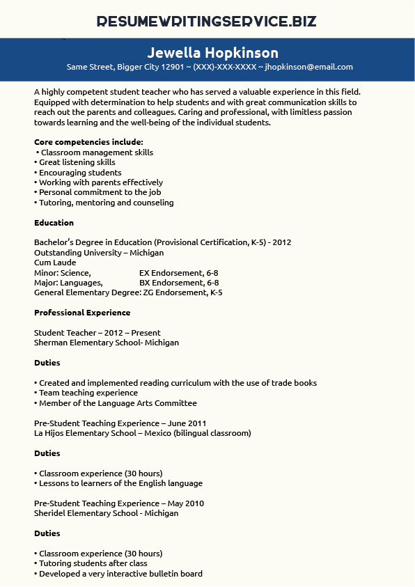 student teacher resume sample