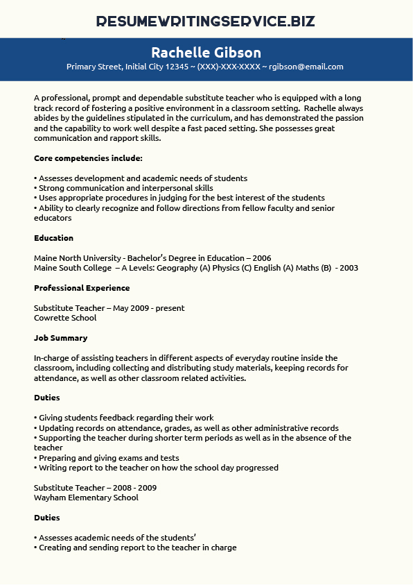 Substitute Teacher Resume Sample Resume Writing Service