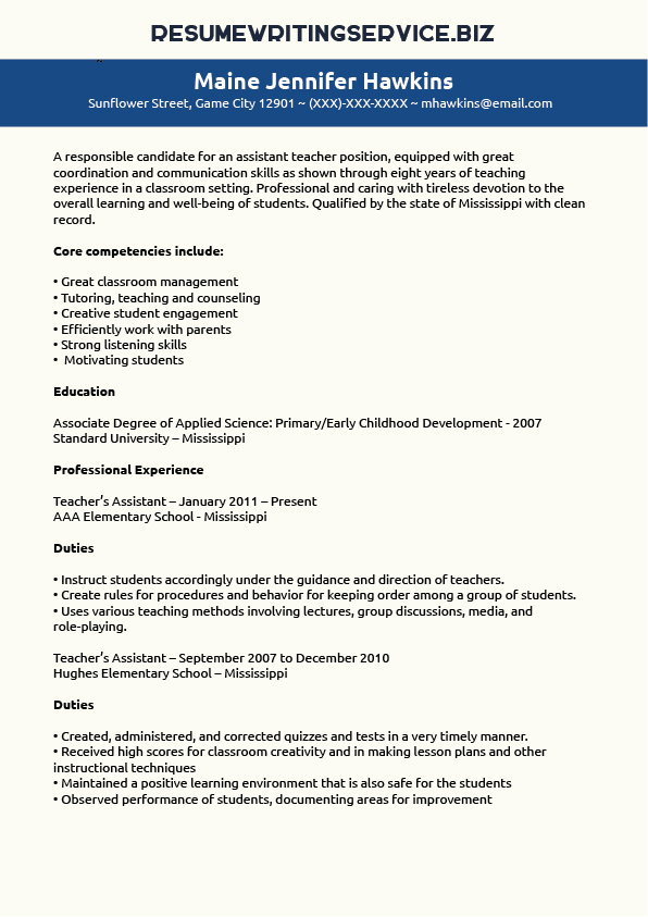 Teaching Assistant Resume Sample Resume Writing Service