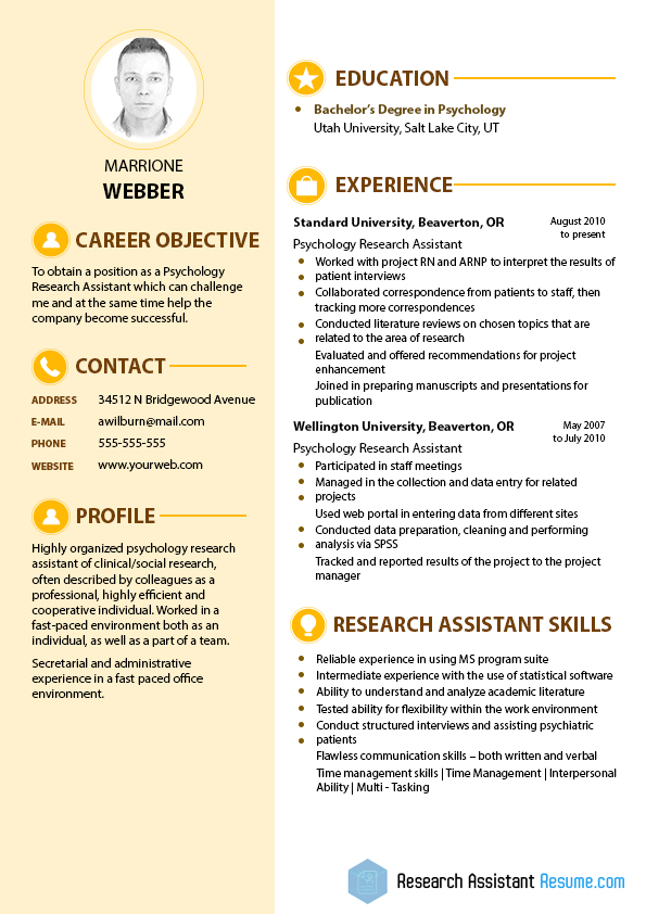 best sample for psychology research assistant resume