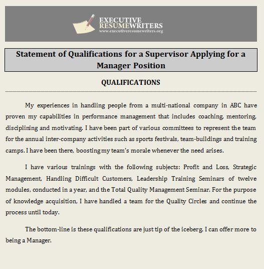 professional help with statement of qualifications